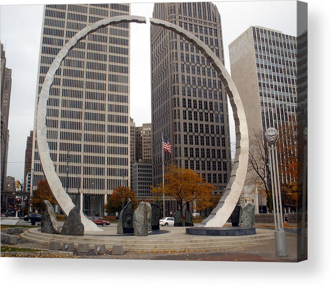 Civic Center Acrylic Print featuring the photograph Civic Center Sculpture by Dawn Williams