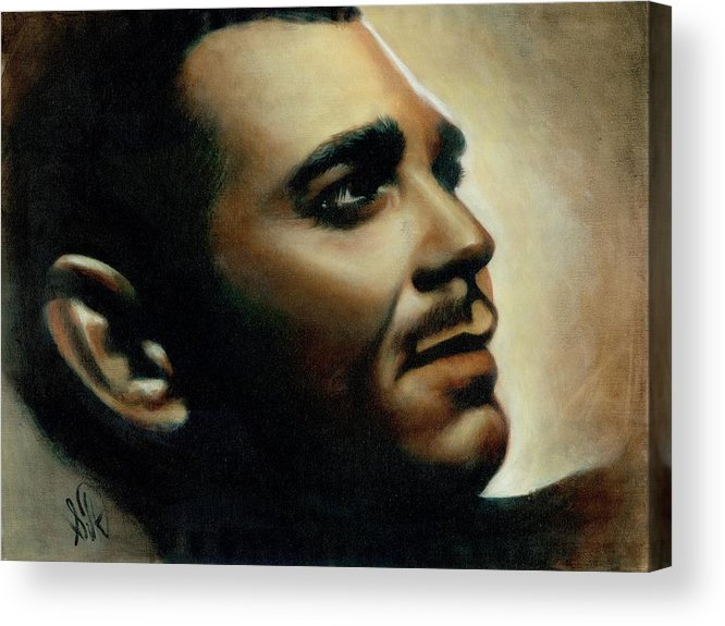 Portrait Acrylic Print featuring the painting Clark Gable by Elizabeth Silk