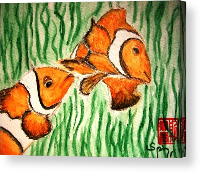 Clown Fish Acrylic Print featuring the painting Clowning Fish by Spencer Joyner