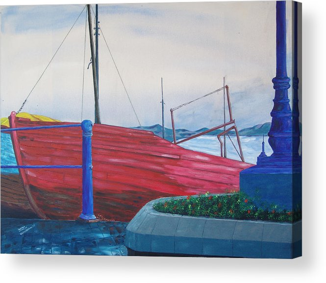 Landscape Acrylic Print featuring the painting Cobh Harbor Ireland by Kevin Callahan