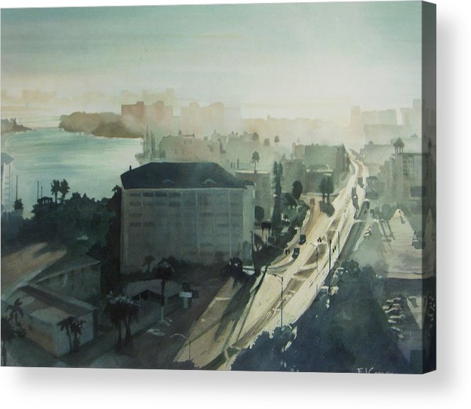 Aqua Acrylic Print featuring the painting Cold Dawn On Gulf Boulevard by Elizabeth Carr