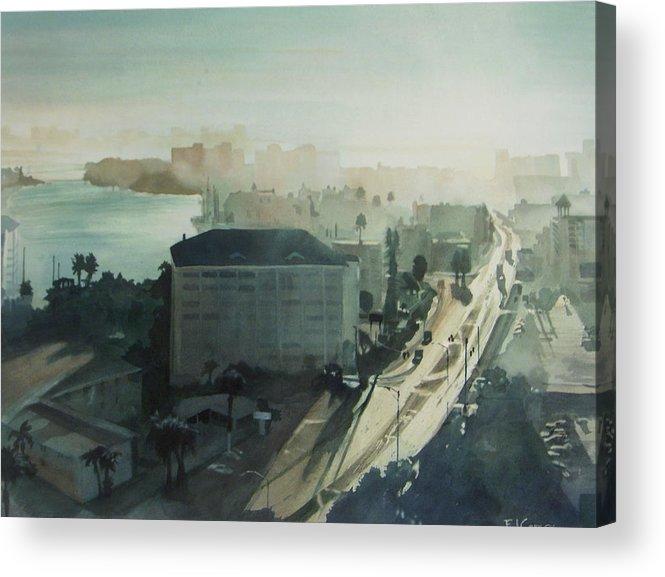 Aqua Acrylic Print featuring the painting Cold Dawn On Gulf Boulevard by Elizabeth Carr