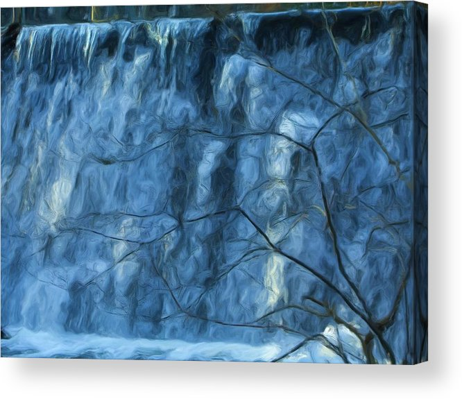 Acrylic Print featuring the painting Cold Day Cold Water Fall  Winter In Ny by Jonathan Galente