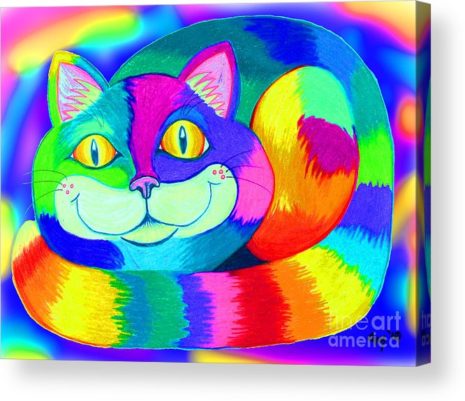 Cat Acrylic Print featuring the digital art Colorful Crazy Cat by Nick Gustafson