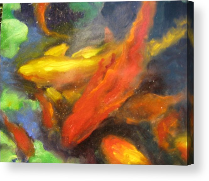 Koi Acrylic Print featuring the painting Colorful Koi by Susan Jenkins