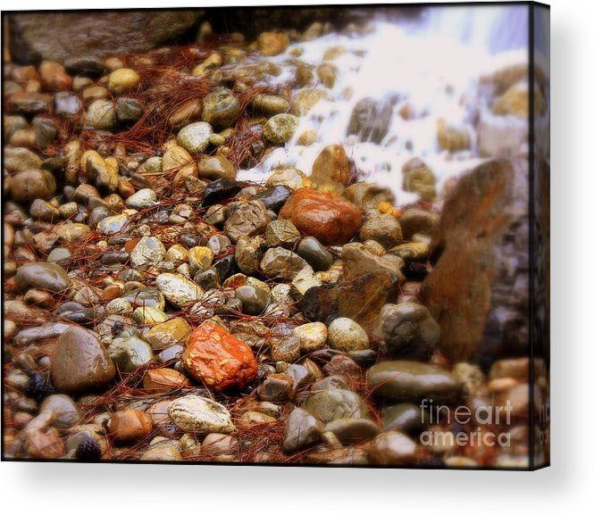 Nature Acrylic Print featuring the photograph Colorful Rocks With Waterfall by Carol Groenen