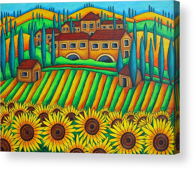 Tuscany Acrylic Print featuring the painting Colours Of Tuscany by Lisa Lorenz