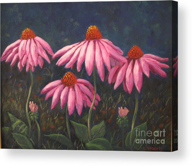 Floral Acrylic Print featuring the painting Coneflowers by Laura Roberts