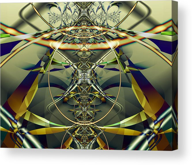 Fractal Acrylic Print featuring the digital art Construction Rings by Frederic Durville