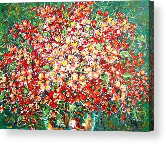 Flowers Acrylic Print featuring the painting Cottage Garden Flowers by Natalie Holland