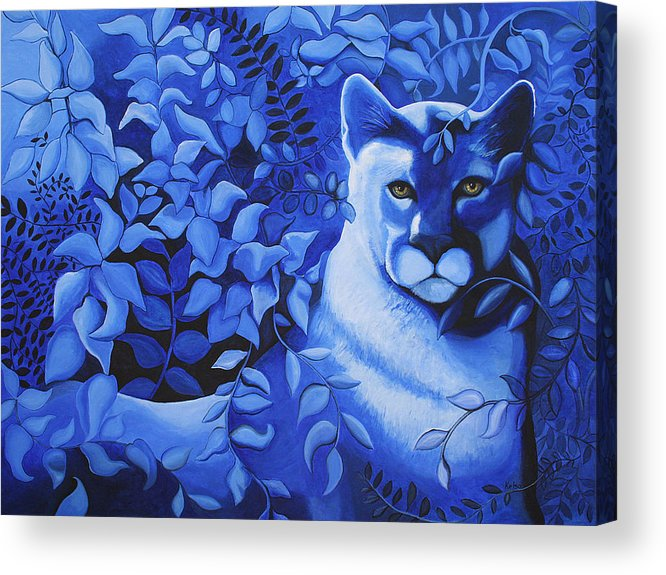 Cougar Acrylic Print featuring the painting Cougar by Bonnie Kelso