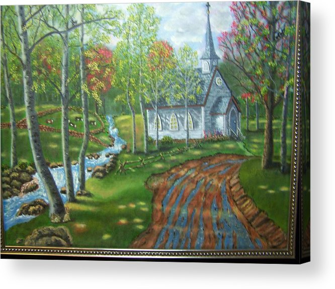 Landscape Acrylic Print featuring the painting Country Church by Charles Vaughn