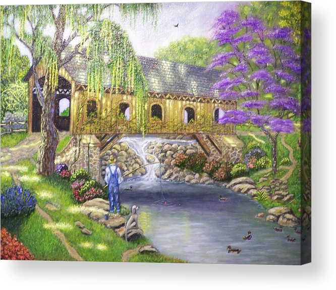 Landscape Acrylic Print featuring the painting Covered Bridge by Charles Vaughn
