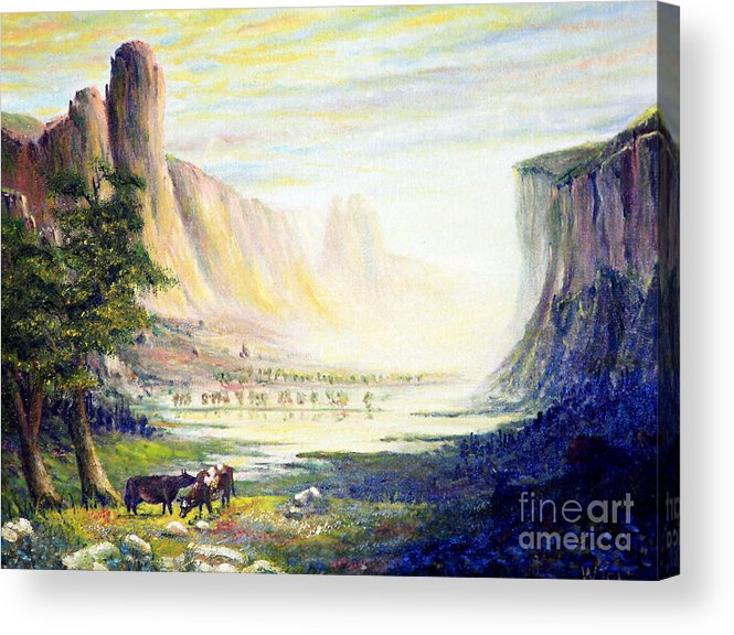 Cow Acrylic Print featuring the painting Cows In The Mountain by Wingsdomain Art and Photography