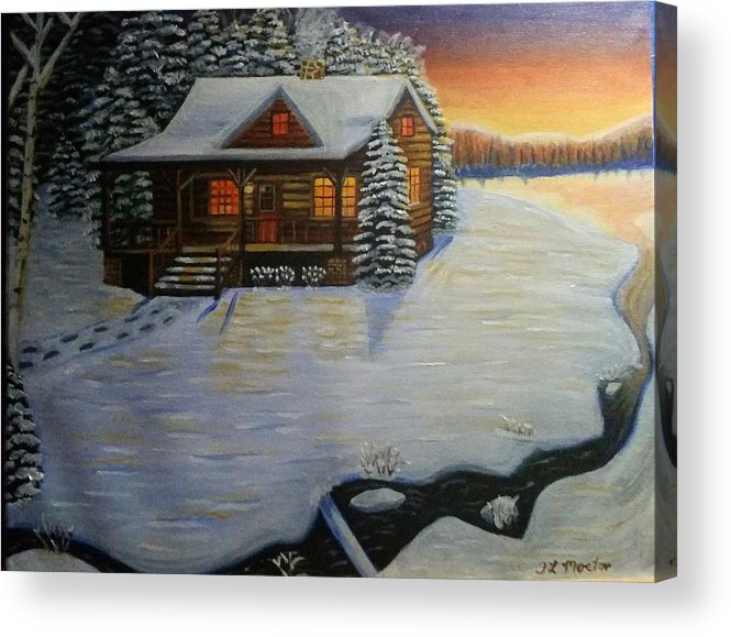 Cabin Acrylic Print featuring the painting Cozy Winter Cabin by Tina Mostov
