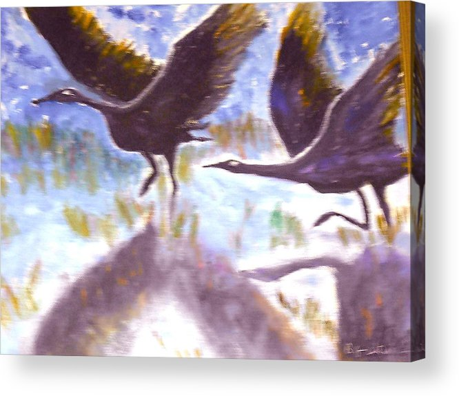 Folk Art Acrylic Print featuring the painting Cranes N Flight by BJ Abrams