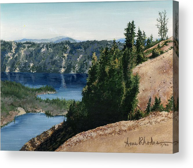 Landscape Acrylic Print featuring the painting Crater Lake Oregon by Anne Rhodes