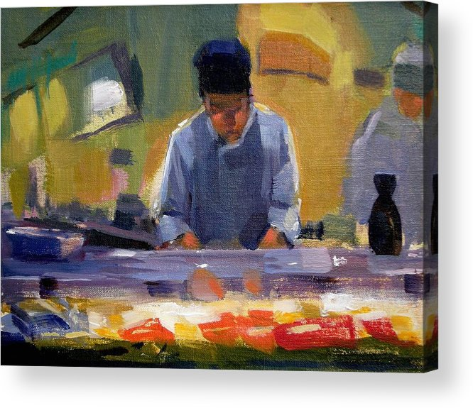 Sushi Acrylic Print featuring the painting Cutting Sushi by Merle Keller