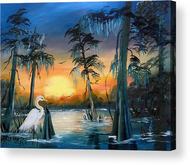 Swamp Acrylic Print featuring the painting Cypress Swamp by Darlene Green