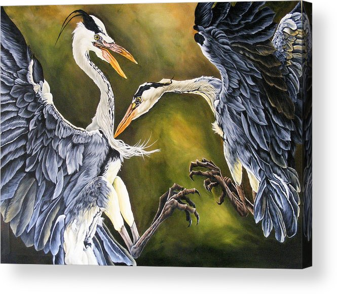 Herons Acrylic Print featuring the painting Dance Of Life by Donald Dean