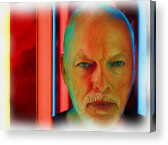 David Gilmour Red Acrylic Print featuring the painting David Gilmour Red,nixo by Never Say Never