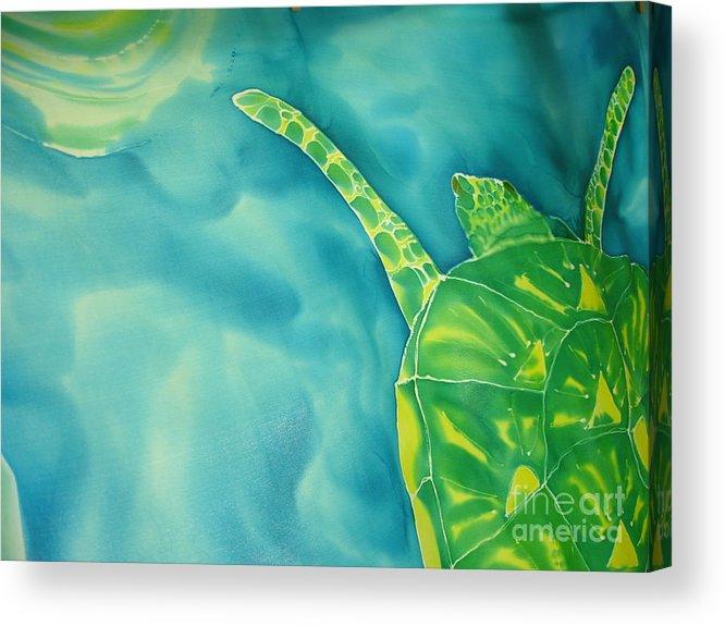 Sea Turtle Acrylic Print featuring the painting Deep Sea Flight by Eric Singleton