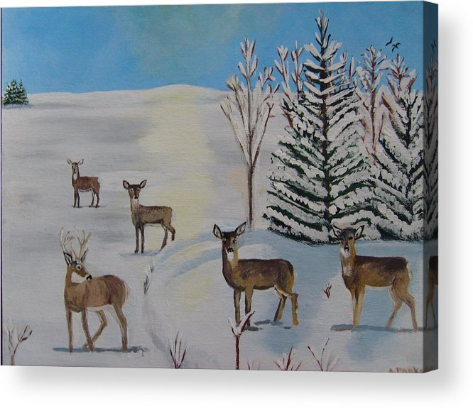Deer Acrylic Print featuring the painting Deer On The Frozen Lake by Aleta Parks