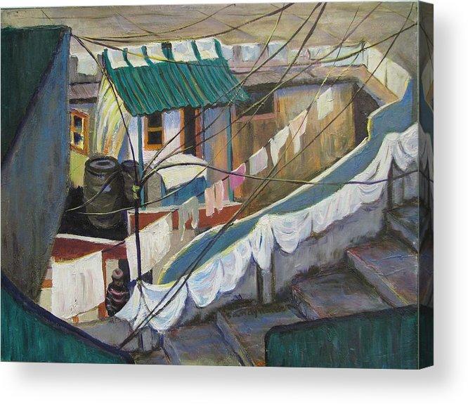 Landscape Acrylic Print featuring the painting Dhobi by Art Nomad Sandra Hansen