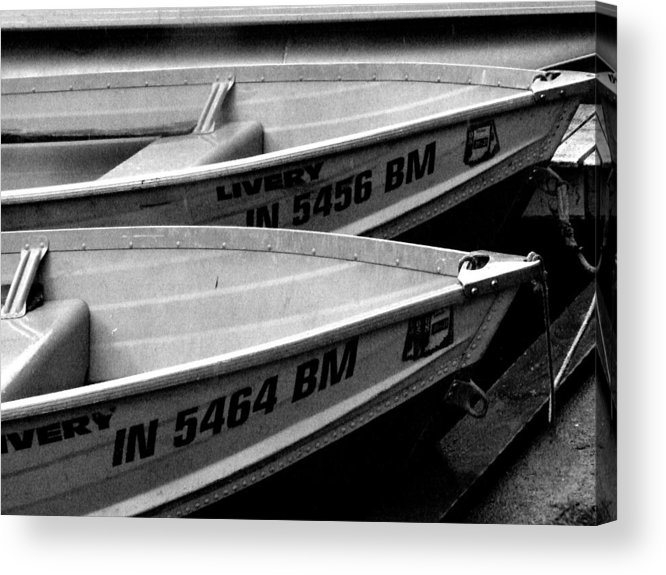 Nautical. Indiana Landscape Acrylic Print featuring the photograph Docked Rowboats by Michael L Kimble