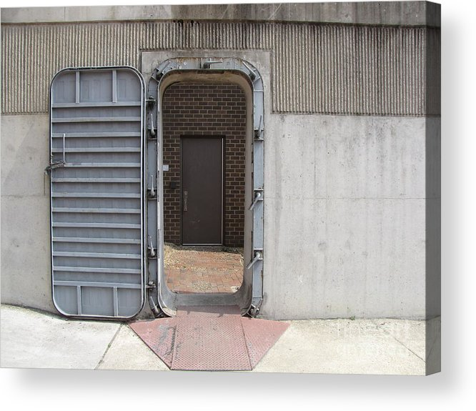 Schuminweb Acrylic Print featuring the photograph Door In The Richmond Floodwall by Ben Schumin