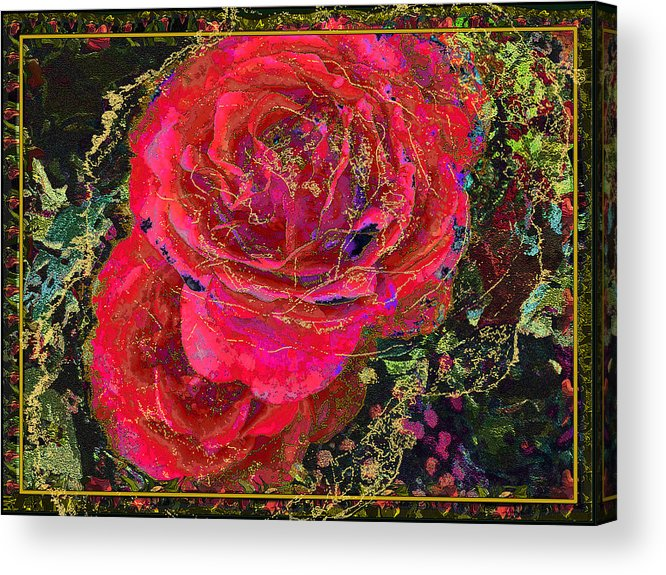 Roses Acrylic Print featuring the painting Dornroeschen by Anne Weirich