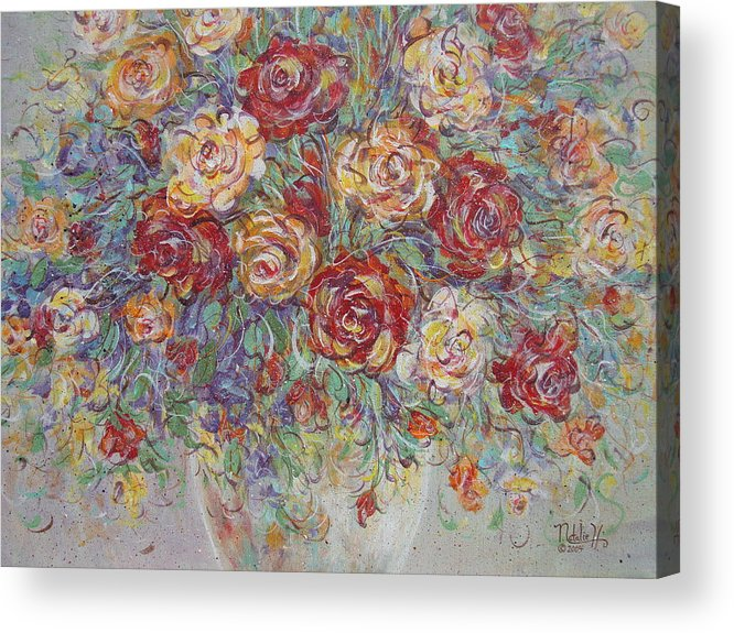 Flowers Acrylic Print featuring the painting Double Delight. by Natalie Holland