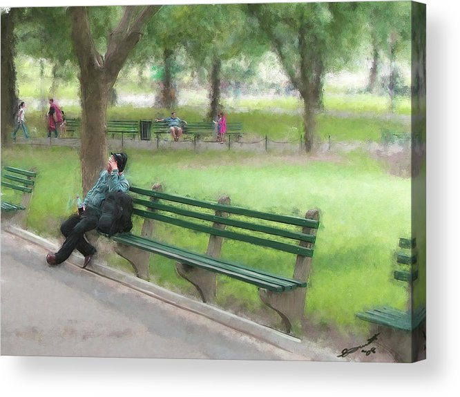 Boston Common Homeless Old Man Green Bench Park Acrylic Print featuring the painting Down But Not Out by Eddie Durrett