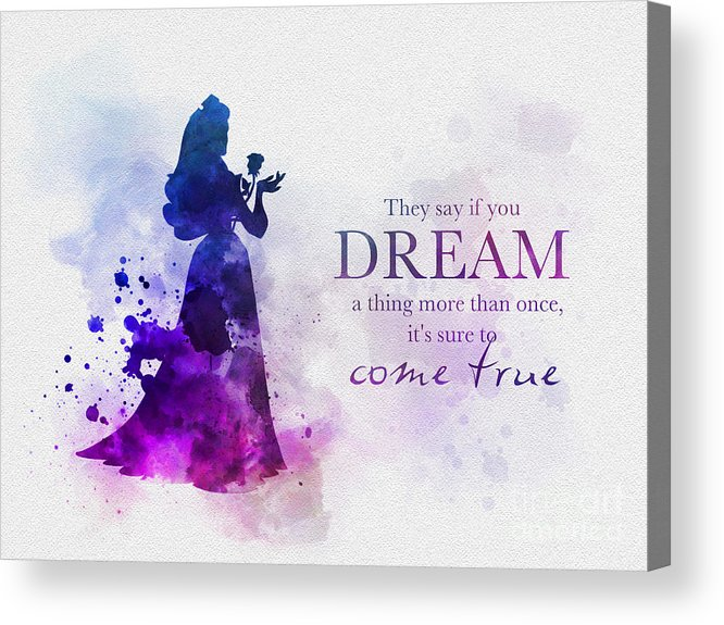 Sleeping Beauty Acrylic Print featuring the mixed media Dreams Can Come True by Rebecca Jenkins