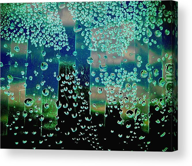Abstract Acrylic Print featuring the photograph Drops Of Rain by Shirley Sirois