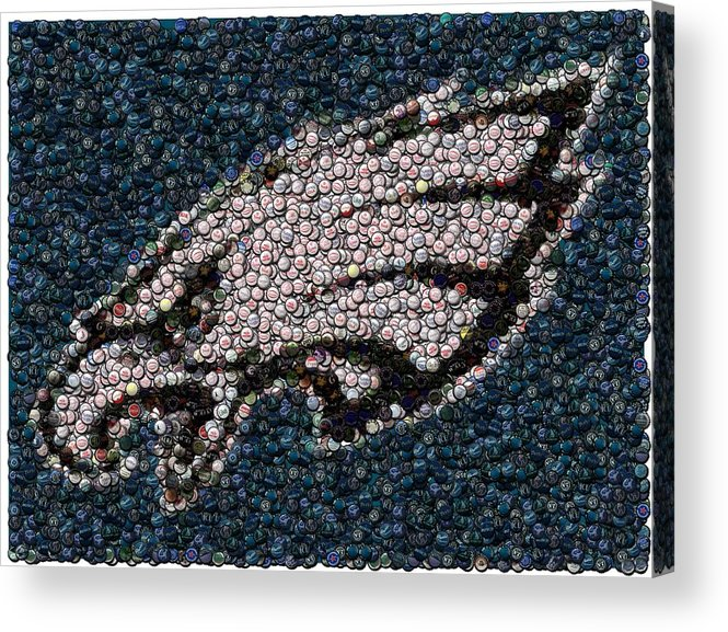 Philly Acrylic Print featuring the mixed media Eagles Bottle Cap Mosaic by Paul Van Scott