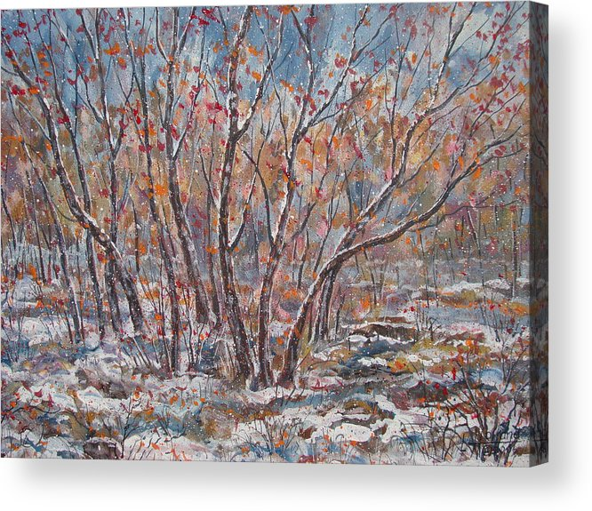 Landscape Acrylic Print featuring the painting Early Snow. by Leonard Holland