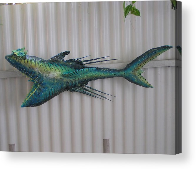 Fisher King Acrylic Print featuring the sculpture Eddie The Shark by Dan Townsend