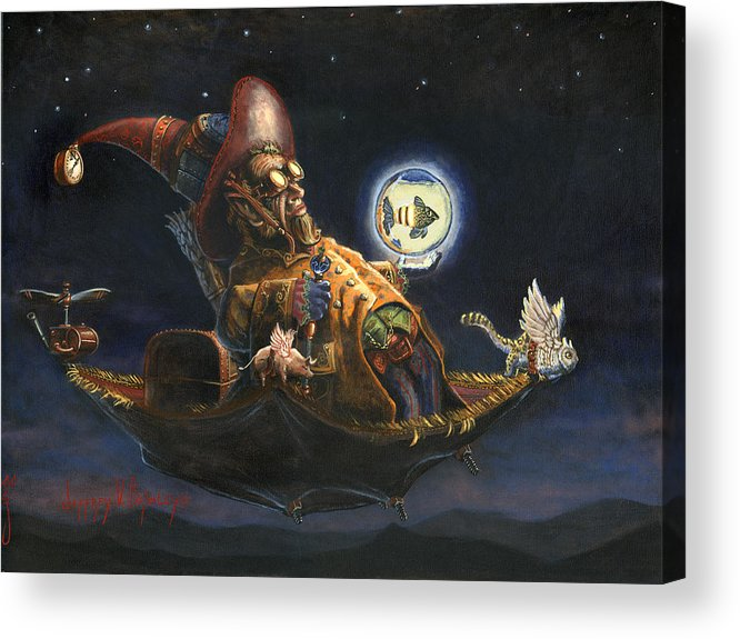 Wizard Acrylic Print featuring the painting Edwin And Norbert At It Again by Jeff Brimley