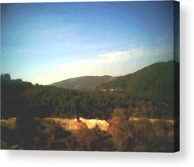 Sky.blue.little Clouds.foresty Hills.low Hills.forest.valley.trees.rest.silence.calm. Acrylic Print featuring the digital art Ein-kerem Valley by Dr Loifer Vladimir