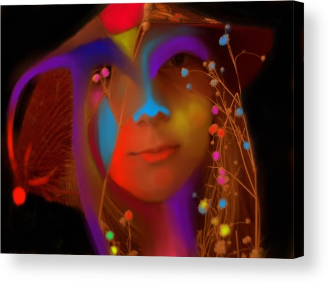 Face Acrylic Print featuring the digital art Electric Compassion by Peter Shor