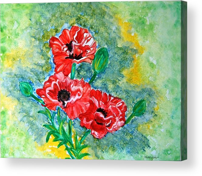 Poppies Flowers Red Yellow Green Blue Acrylic Watercolor Yupo Elegant Landscape Acrylic Print featuring the painting Elegant Poppies by Manjiri Kanvinde