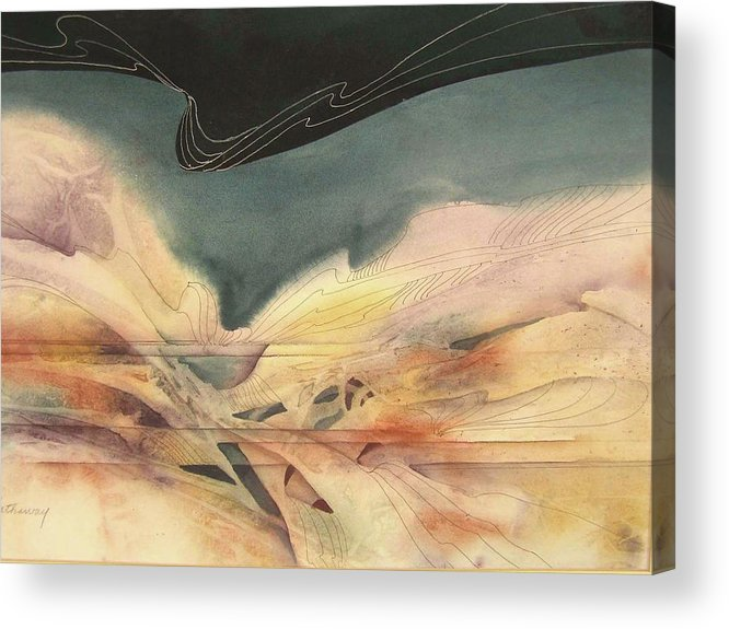 Abstract Watercolor Based On Water And Sky Images During Sailing Expeditions Acrylic Print featuring the painting Enchantment by Shirley Hathaway