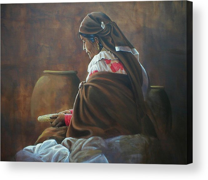 Woman Acrylic Print featuring the painting Entre Vasijas Y Pondos by Laine Garrido