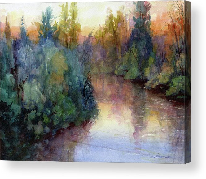 Water Acrylic Print featuring the painting Evening On The Willamette by Steve Henderson