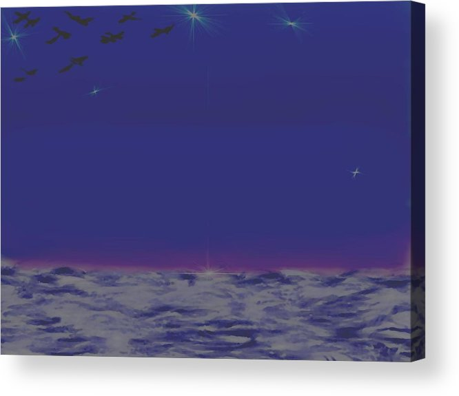 Late Evening.violet Dark Sky.rest.little Stars.last Ray Of Sun.sea.waves.silence. Birds.quiet. Acrylic Print featuring the digital art Evening.birds by Dr Loifer Vladimir
