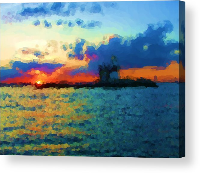 Acrylic Print featuring the painting Execution Light Bronx New York by Jonathan Galente