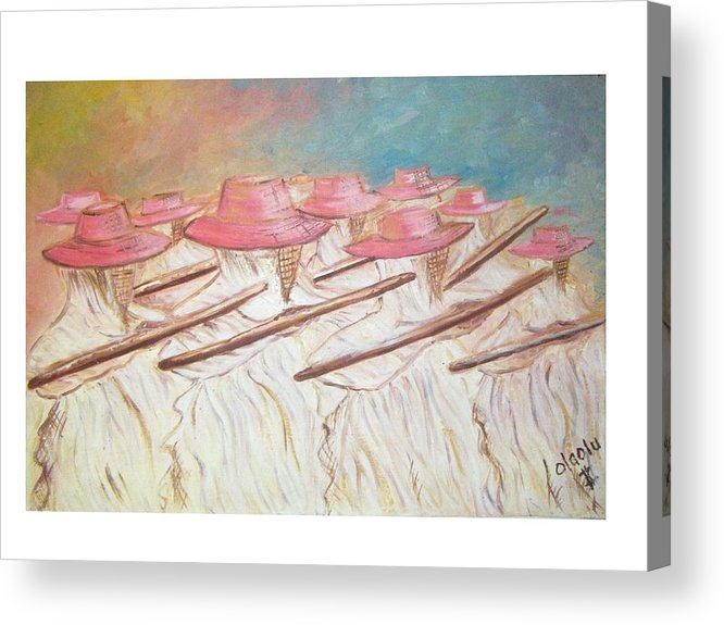 Abstract Acrylic Print featuring the painting Eyo Festival by Olaoluwa Smith