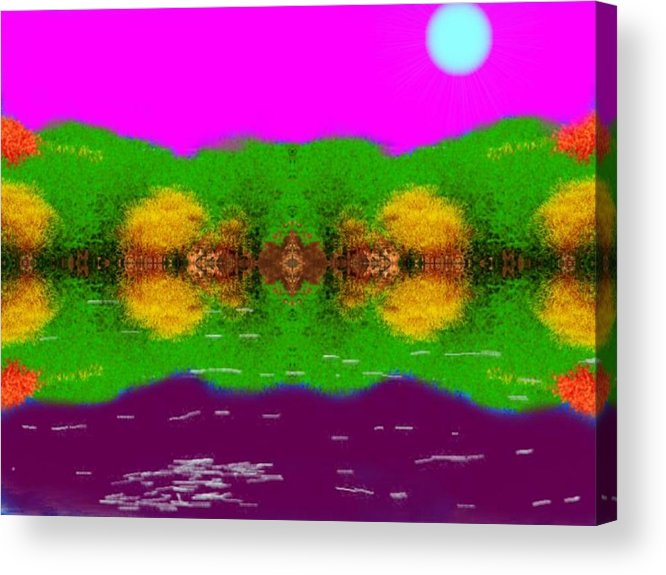 Sky.moon.coast Trees.water Mirror.reflection.silence.rest.miraclt. Acrylic Print featuring the digital art Face To Face.night Mirror by Dr Loifer Vladimir