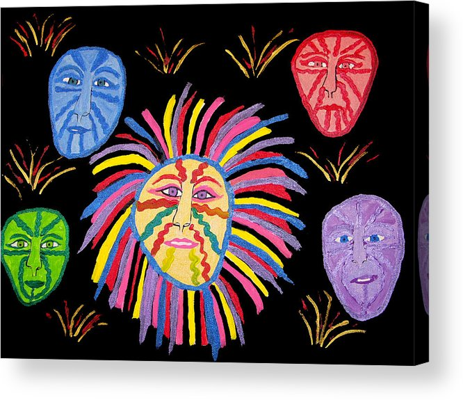 Acrylic Print featuring the painting Faces Out Of The Dark by Betty Roberts